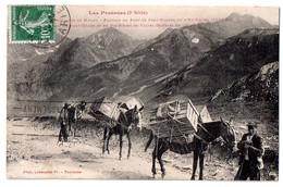 CPA 1923 ANIMEE ANDORRE TRANSPORT A DOS DE MULETS DANS L'ENVALIRA - Andorre
