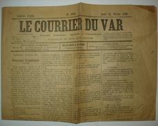 RARE. COURRIER Du VAR 21 Février 1889. Carnaval, Nouvelles Locales. Brignoles. - Documents Historiques