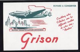 """Buvard Publicitaire / Produits D'entretien Pour Chaussures """"GRISON""""  Super Constellation Lockheed ( Avion) - Buvards, Protège-cahiers Illustrés"""