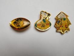 Série De 3 Pin's Sur Le Rugby Et La Coupe Du Monde 1991 , France - Fidji , EDF GDF , Coq - Rugby