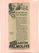 FRANCE . PUB. SAVON PALMOLIVE . ANNEES 1920 . DECOUPEE ET COLLEE SUR PAPIER . - Parfums & Beauté