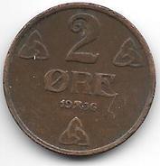 *norway 2 Ore 1936  Km 371   Vf - Norvège