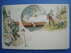 (alpinisme) Carte Humoristique Neuve, Lithographiée Vers 1900 - Alpinisme