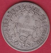 """France 2 Francs Argent Cérès 1871 A """"petit A"""" - I. 2 Francs"""