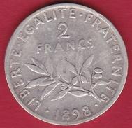 France 2 Francs Argent Semeuse 1898 - France