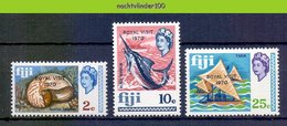 Mhl237 FAUNA VISSEN SCHELPEN BOOT ROYAL VISIT FISH SHELLS BOAT MARINE LIFE FIJI 1970 PF/MNH - Meereswelt