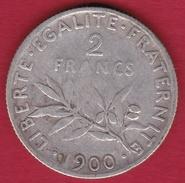 France 2 Francs Argent Semeuse 1900 - France