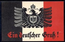 CPA ANCIENNE- ALLEMAGNE- ILLUSTRATION BLASON ALLEMAND-PRUSSIEN SUR FOND DU DRAPEAU 1914- INSCRIPTION GOTHIQUE- 2 SCANS - Patriotic