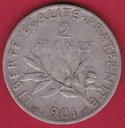 France 2 Francs Argent Semeuse 1901 - France
