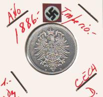 ALEMANIA - IMPERIO - DEUTSCHES REICH - 1- DM. AÑO 1886-D - 1 Mark