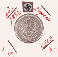 ALEMANIA - IMPERIO - DEUTSCHES REICH - 1- DM. AÑO 1881-A - 1 Mark