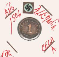 ALEMANIA - IMPERIO - DEUTSCHES REICH - 1  PFENNIG. . AÑO 1906-A - [ 2] 1871-1918 : Imperio Alemán