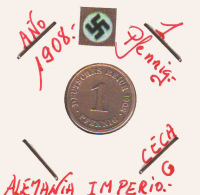 ALEMANIA - IMPERIO - DEUTSCHES REICH - 1  PFENNIG. . AÑO 1908-G - [ 2] 1871-1918 : Imperio Alemán