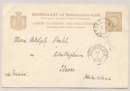 Nederlands Indië - 1890 - 7,5 Cent Cijfer, Kleinrondstempel GAROET Op Briefkaart G9 Via KR WELTEVREDEN Naar Duitsland - Nederlands-Indië