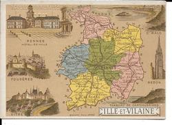 CPA  Carte Géographique Département De L'Ile Et Vilaine 13252 - Carte Geografiche