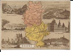 CPA  Carte Géographique Département Du Rhône 13262 - Carte Geografiche