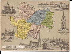 CPA  Carte Géographique Département De La Saône Et Loire 13263 - Carte Geografiche