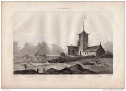 1837 - Gravure Sur Cuivre - Penmarch (Finistère) - Le Sémaphore - FRANCO DE PORT - Estampes & Gravures