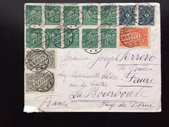Deutsches Reich, Lörrach 1923, INFLA BUNTFRANKATUR, Inflation Brief Nach La Bourboule France Frankreich - Deutschland