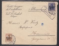 S.A. DES CRISTALLERIES DU VAL ST. LAMBERT.LETTRE AVEC CACHET DE CENSURE DE LIEGE POUR HANNOVRE. - Guerre 14-18