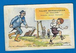 """Belle C.publicitaire Signée F Poulbot, Légende """" Tu M'attraperas Pas........talons Tournants"""" / Pub Bergougnan - Poulbot, F."""