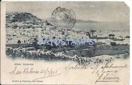67966 SPAIN ESPAÑA GRAN CANARIA LAS PALMAS VISTA PARCIAL YEAR 1901 CUT EDGE POSTAL POSTCARD - Spain