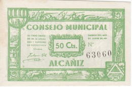 BILLETE DE 50 CTS  DEL CONSEJO MUNICIPAL DE ALCAÑIZ (BANKNOTE) SIN CIRCULAR-UNCIRCULATED - [ 3] 1936-1975 : Régimen De Franco