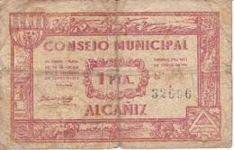 BILLETE DE 1 PTA  DEL CONSEJO MUNICIPAL DE ALCAÑIZ (BANKNOTE) - [ 3] 1936-1975 : Régimen De Franco