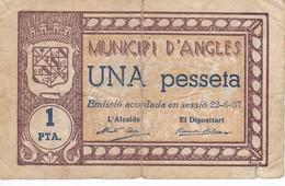 BILLETE DE 1 PTA  DEL MUNICIPI D´ANGLES DEL 22-6-1937 - [ 3] 1936-1975 : Régimen De Franco