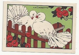 CHROMO - ANIMAUX HUMANISÉS - ILLUSTRATEUR : RAY LAMBERT - LA CAUSETTE - PUBLICITÉ FARINE LACTÉE  SALVY - PIGEONS - Autres
