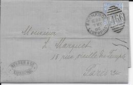 GB - 1880 - YVERT N° 57 PLANCHE 18 Sur LETTRE (LAC) De LIVERPOOL => PARIS - COTE Du TIMBRE DETACHE = 45 EURO - Marcofilie
