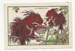 CHROMO - ANIMAUX HUMANISÉS - ILLUSTRATEUR : RAY LAMBERT - LA CUEILLETTE - PUBLICITÉ FARINE LACTÉE  SALVY - HÉRISSONS - Trade Cards