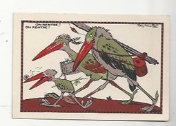 CHROMO - ANIMAUX HUMANISÉS - ILLUSTRATEUR : RAY LAMBERT - ON RENTRE - PUBLICITÉ FARINE LACTÉE  SALVY - HÉRONS - Trade Cards