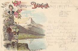Gruss Aus Den Bergen Mit Matterhorn - Schwierige Passage - 1898     (P31-30211) - Souvenir De...