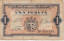 BILLETE DE 1 PTA  DEL CONSEJO MUNICIPAL DE CASPE DEL AÑO 1937 (BANKNOTE) - [ 3] 1936-1975 : Régimen De Franco