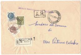 TI109    Cosenza 1969 - Raccomandata A.R.. Atti Giudiziari - Tricolore Siracusana - 1961-70: Storia Postale