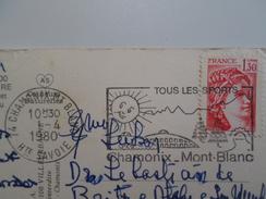 CACHET PUBLICITÉ 1980 TOURISM STAMP - CARTE POSTALE TIMBRE - PC POSTMARK ADVERT ADVERTISING CHAMONIX MONT BLANC FRANCE - Advertising