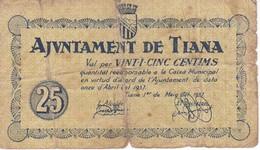 BILLETE DE 25 CTS DEL AJUNTAMENT DE TIANA DEL AÑO 1937  (BANKNOTE) - Sin Clasificación