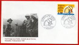 FDC HARKIS SOLDATS DE LA FRANCE  9 12 1989 MARSEILLE - Seconda Guerra Mondiale