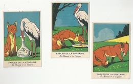 CHROMOS - FABLES DE LA FONTAINE - LOT DE 3 CHROMOS - LE RENARD ET LA CIGOGNE - FORMAT 8.1 X 12 - Trade Cards