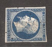 France,Empire Yvert N° 14 A BLEU TRES FONCE Obl Pc 2014 De MOIRANS Du JURA , Indice 7  TB - 1853-1860 Napoléon III