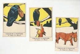 CHROMOS - FABLES DE LA FONTAINE - LOT DE 3 CHROMOS - LE CORBEAU ET LE RENARD  - FORMAT 8.1 X 12 - Trade Cards
