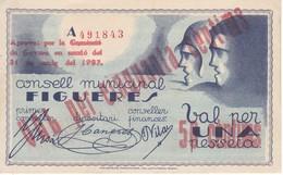 BILLETE DE 50 CTS DEL CONSELL MUNICIPAL DE FIGUERES DEL AÑO 1937  (BANKNOTE) SIN CIRCULAR-UNCIRCULATED - [ 3] 1936-1975 : Régimen De Franco