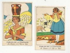 CHROMOS - FABLES DE LA FONTAINE - LOT DE 2 CHROMOS - LA LAITIÈRE ET LE POT AU LAIT  - FORMAT 8.1 X 12 - Trade Cards