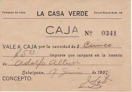 BILLETE-VALE DE $5 DE LA CASA VERDE EN CABAIGUAN DEL AÑO 1937  (BANKNOTE) CUBA, CASA FUNDADA EN 1905 - Cuba
