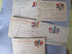 5 CARTES POSTALE  FRANCHISE MILITAIRE - Militaria
