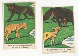 CHROMOS - FABLES DE LA FONTAINE - LOT DE 2 CHROMOS - LE LOUP ET L'AGNEAU  - FORMAT 8.1 X 12 - Trade Cards
