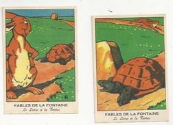 CHROMOS - FABLES DE LA FONTAINE - LOT DE 2 CHROMOS - LE LIÈVRE ET LA TORTUE  - FORMAT 8.1 X 12 - Trade Cards