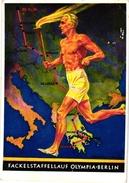 1 Postkaart PostCARD OLYMPISCHE SPIELE Berlin 1936 FACKELSTAFFELLAUF OLYMPIA -BERLIN Carte Postale - Zomer 1936: Berlijn