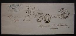 1858 Lettre Taxée De Duvigneau Avoué à Nérac, Pour La Commune De La Réunion (Lot Et Garonne) - Lettres Taxées